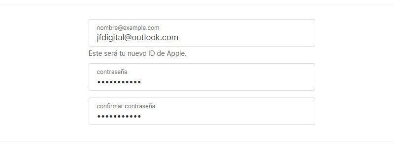 Rellena el formulario para crear un ID de Apple