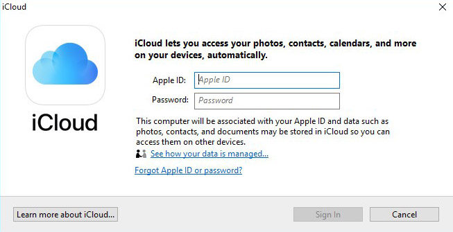 Abrimos la plataforma de iCloud en Windows