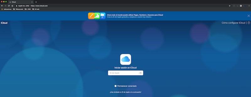 Utilizar iCloud de manera Online