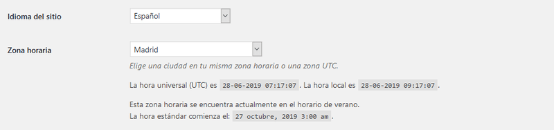 ajustes generales wordpress idioma zona horaria