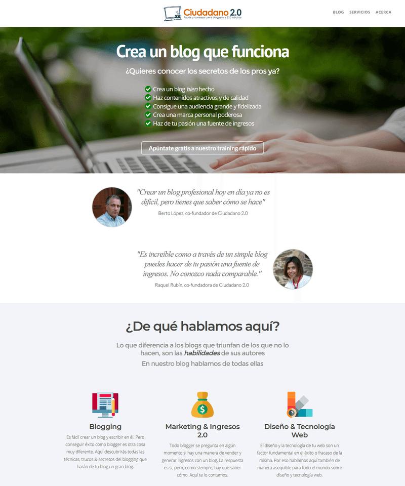 ejemplo landing page blog